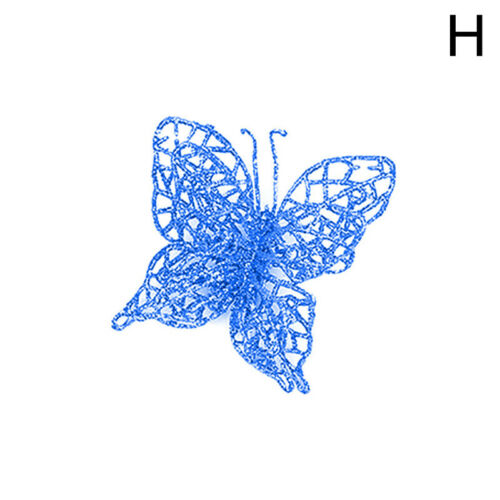 2PCS Glitter Artificial Butterfly Hollow Christmas Tree Wedding Xmas Party Decor