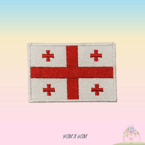 Georgia National Flag Embroidered Iron On Patch Sew On Badge Applique