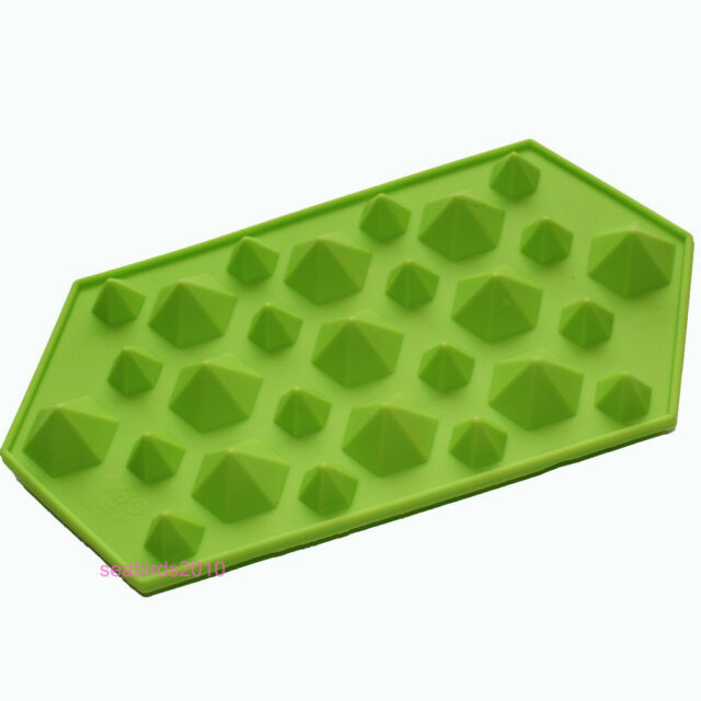 """1 silicone 3D diamonds gem cool ice cube soap chocolate mold moulds 9""""x5"""""""