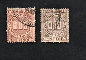 REGNO-ITALIA-COPPIA-TASSA-SUI-CONTRATTI-DI-BORSA-CENT-10-E-5-USATI-MARCA-BOLLO