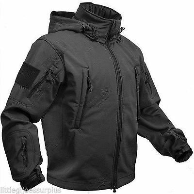 NEW ( BLACK ) Special OPS Tactical Soft Shell Jacket w/Waterproof Shell9767 S-6X