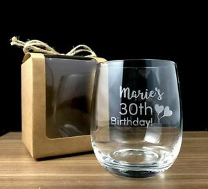 Image is loading Personalised-Birthday-Gift-Engraved-Crystal-Stemless-Wine- Glass-