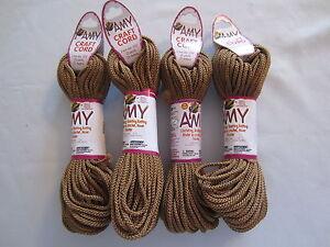 Lot of 4 rolls 2mm Cinnamon Amy Braided Nylon Macrame Craft Jewelry Cord 100yds