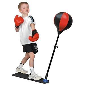 KIDS PUNCH BALL TRAINING BAG ADJUSTABLE HEIGHT GLOVES CHILDRENS BOXING SET FUN