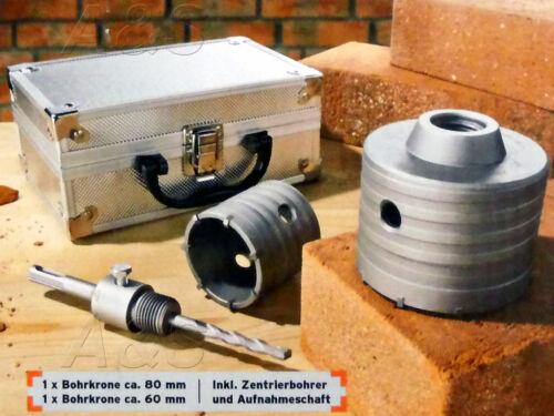Bohrkronen Set 4 tlg Bohrkrone Ø 60 u 80 mm Alukoffer Bohrer Zentrierbohrer