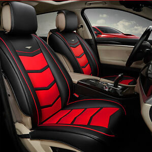 Image Is Loading Leather Red Car Seat Covers 5 Seats Waterproof