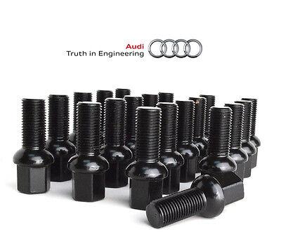 Black Ball Seat Lug Bolts Fits: Audi OEM Wheels 14x1.5 28mm Set of 20