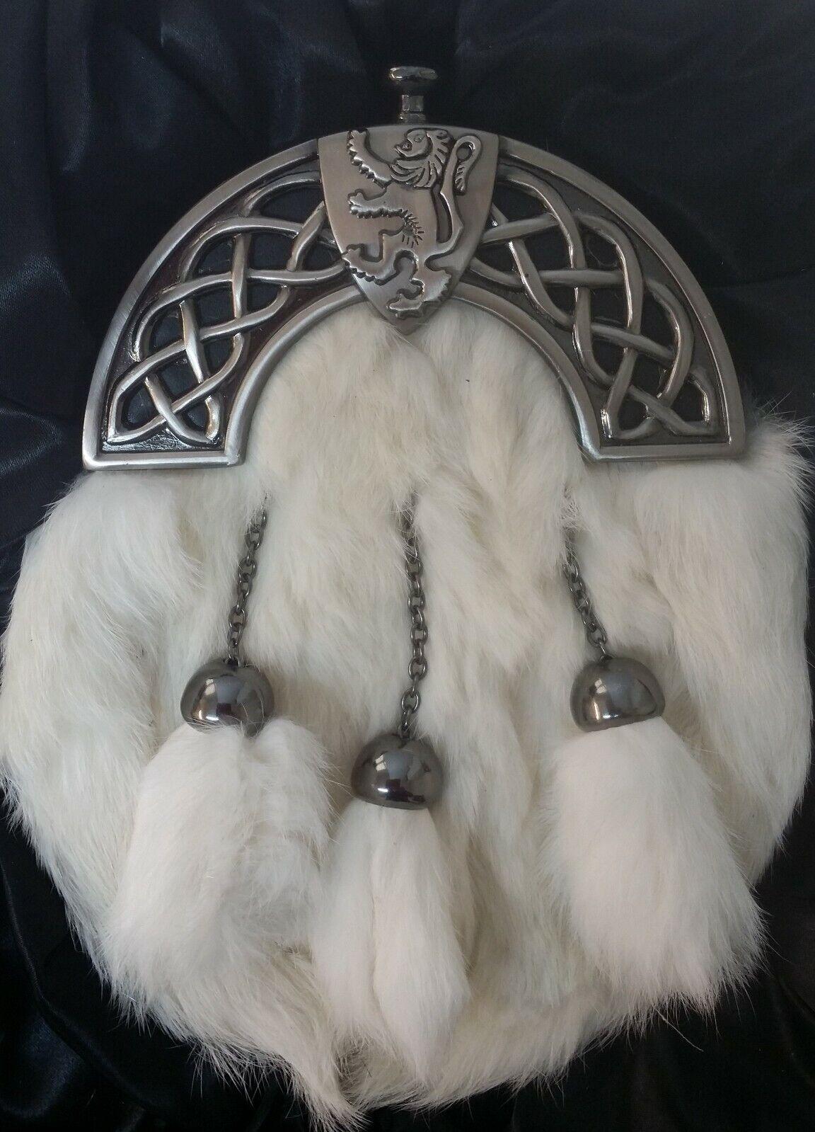 Antique Celtic Shield Lion Cantle White Rabbit Kilt Sporran & Chains Gift Boxed