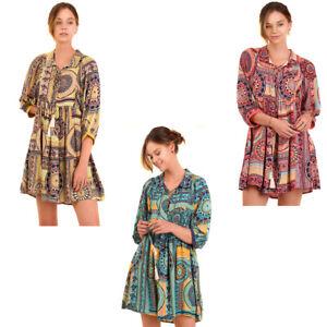 UMGEE-Womens-Chic-Bohemian-Woven-Lined-Pheasant-Boho-3-4-Sleeves-Dress-S-M-L