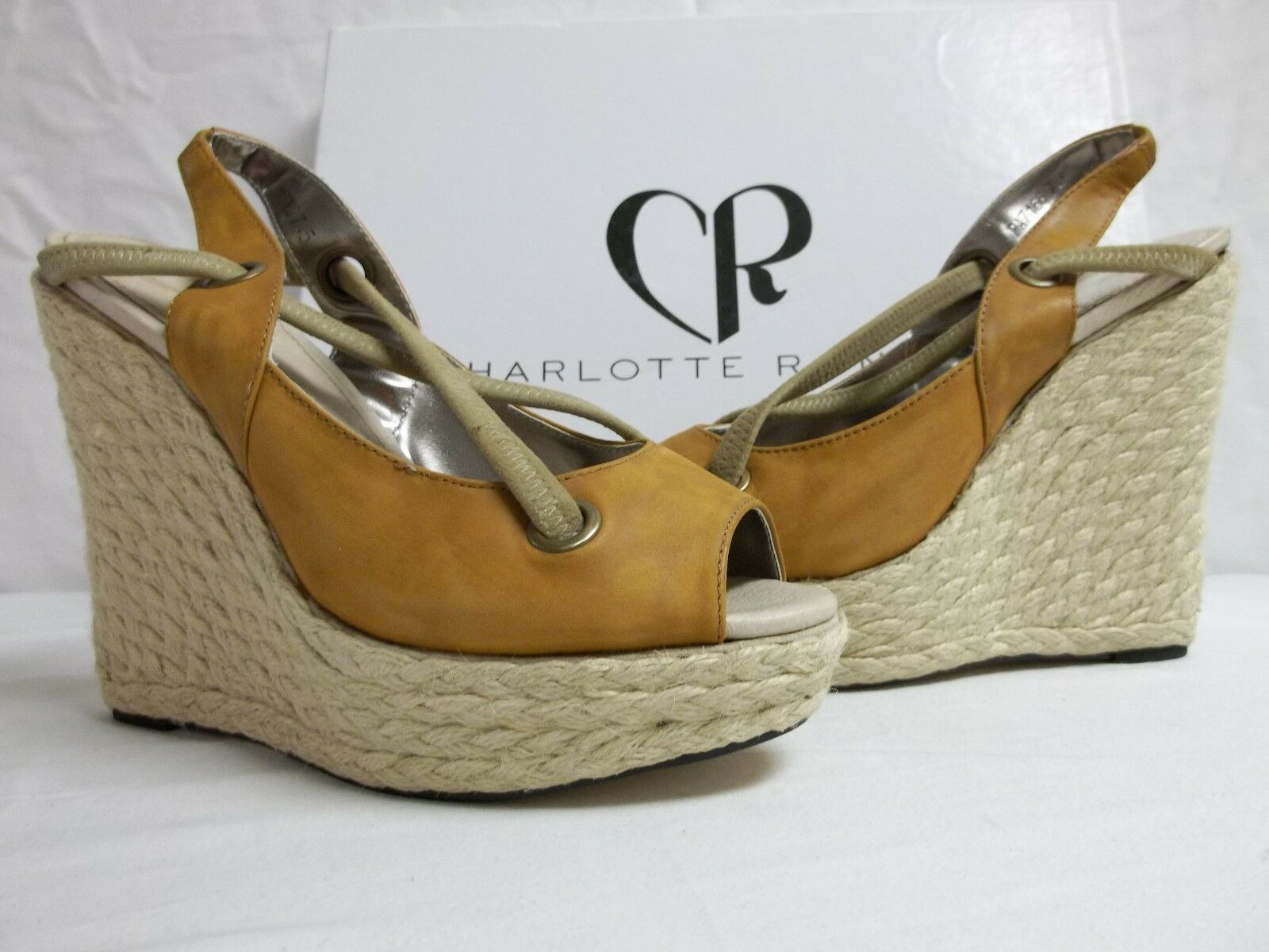 Charlotte Ronson Taille 7.5 m joshephine en cuir camel talons compenses NEW Chaussures Pointure