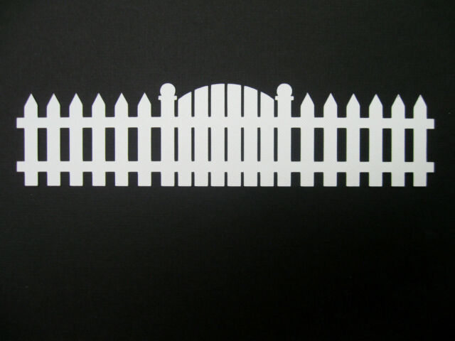 """Long Fence and Gate  Border White  10"""" long Cardstock die cut scrapbooking"""