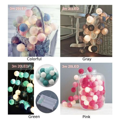 Details about  /20 Leds Cotton Ball String Lights Fairy Hanging Wedding Bedroom Living Room