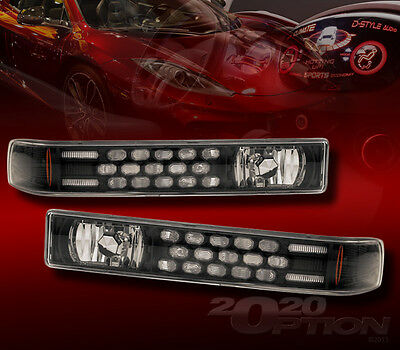 FOR 98-04 CHEVY S10 BLAZER LED LOOK BLACK CORNER PARKING SIGNAL LAMPS LIGHTS