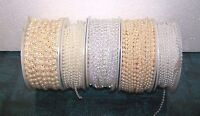 Wrights Pearl Trim Roll White Choice Beaded String Craft Sew Bows Wedding Dress