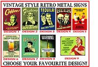 """Funny Vintage Pub Advert Sign Style"" Retro Metal FRIDGE MAGNET - choose design!"