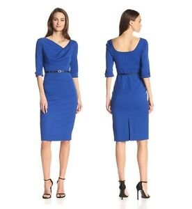 fe37ab99 Black Halo Classic 3/4 Sleeve Jackie O Belted Blue Women Cocktail ...
