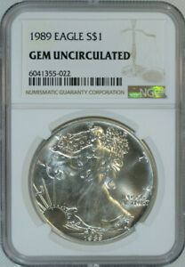 1989-American-Silver-Eagle-Dollar-1-999-Pure-Certified-NGC-GEM-BU