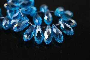 20pcs-16X8mm-Teardrop-Faceted-Crystal-Glass-Pendant-Loose-Beads-Sky-Blue-AB-New