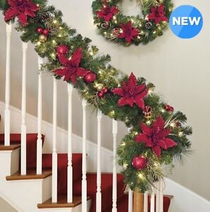 Details About Kirkland Signature 9ft 2 7m 90 Led Pre Lit Red And Gold Christmas Garland New