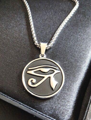 acero faraón egipcio Ojo de Ra Mal De Ojo Colgante Collar Mens negro de plata