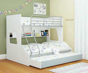 Image Is Loading Single Over Double Trio Bunk Bed With Shelves