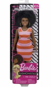 NEW! Barbie Fashionistas AA Curvy Doll #105 with Afro NEW IN BOX 2018 2019