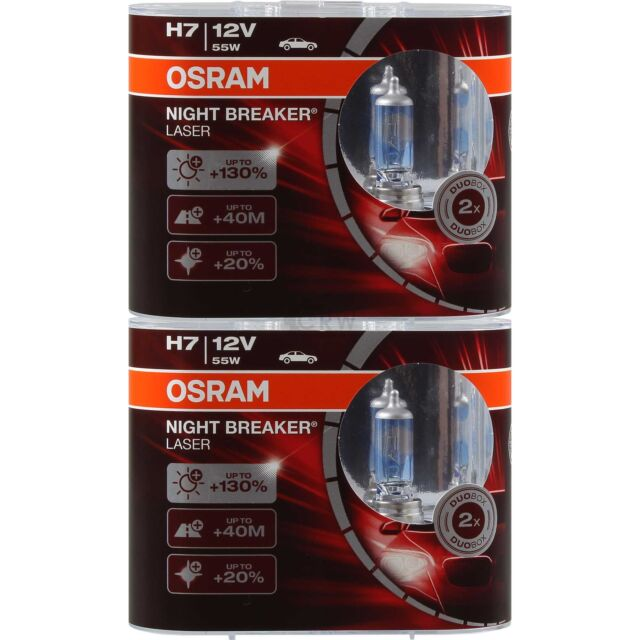 2x OSRAM NIGHT BREAKER LASER H7 12V 55W +130% PX26d DUO-BOX