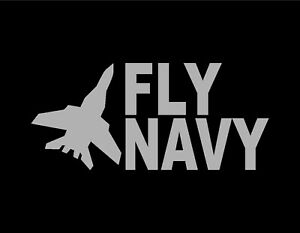 FLY-NAVY-VINYL-WINDOW-DECAL-SILVER-4-034-X9-034-US-NAVY-MILITARY-PILOT-WAR-VETERAN-USA