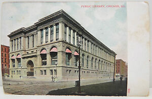 USA-Postcard-Postcard-Ak-Public-Library-Chicago-1907-A2324