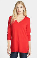 $258 Eileen Fisher Italian Merino Jersey Red Poppy Deep Vneck Slim Tunic 1x