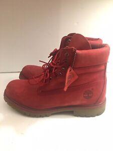 Men-039-s-Timberland-Premium-6-Inch-Waterproof-Boots-RED-Suede-SZ-9-400-Grams