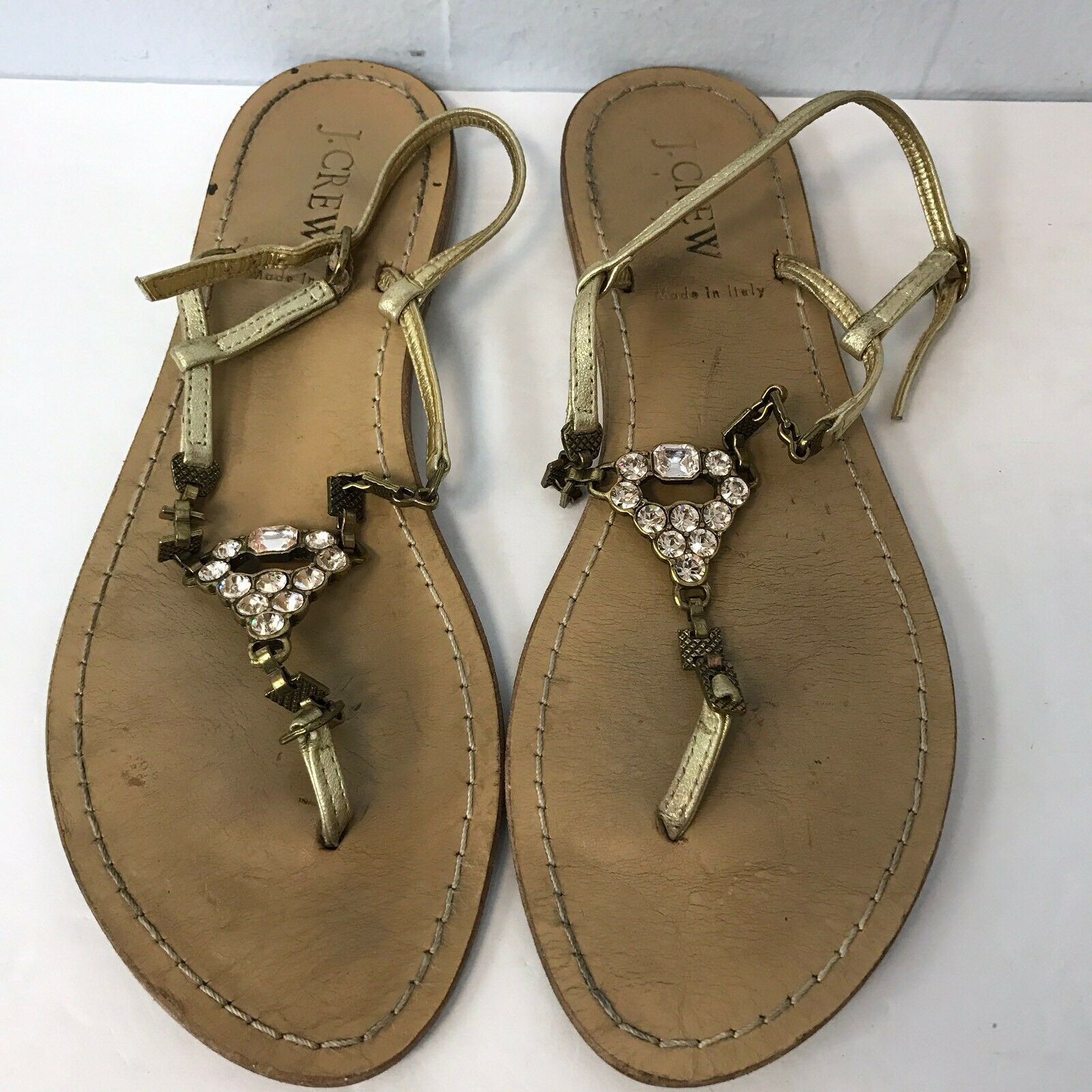 j 7 crew sandals Women Size 7 j Gold Leather Upper fbcf22