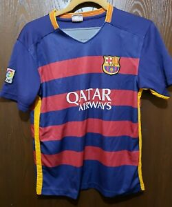 Red Blue Neymar Jr Fcb Qatar Airways Barcelona Soccer Futbol Jersey Youth L Ebay