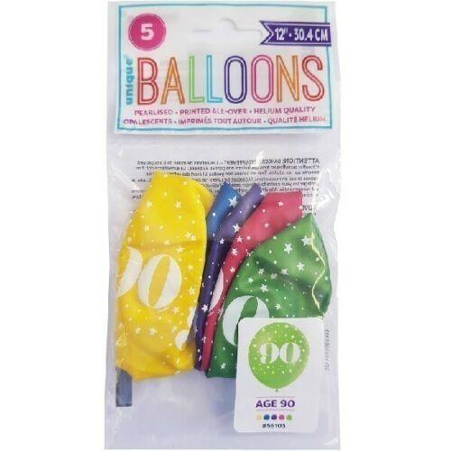 """5 x Âge 90 Hélium Qualité 12/"""" Latex Ballons Mix 90th Fête D/'Anniversaire Décoration"""