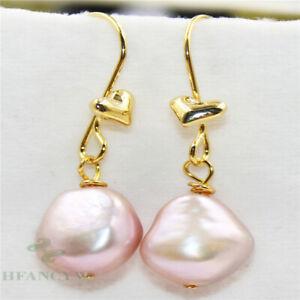 15-18mm Pink Baroque Pearl Earrings 18k Ear Drop Luxury Jewelry Flawless Natural