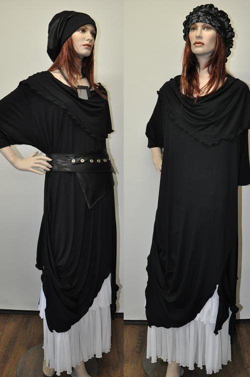 Designer-Superposé Tunique-Bout-robe Long-Tunique schwarz Größe unique XL, XXL, XXXL