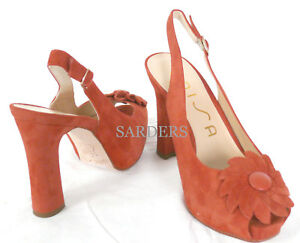 Peep Unisa Sling piattaforma Pumps Sandals 38 pelle Nuovo Tacchi corallo Toe Vera 37 68Bpnv6q