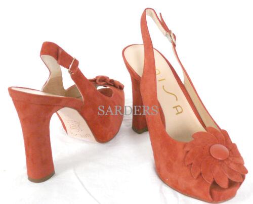 Peep 37 Vera 38 Pumps Tacchi Sandals corallo piattaforma Unisa Toe Sling Nuovo pelle CxqE15Ww8