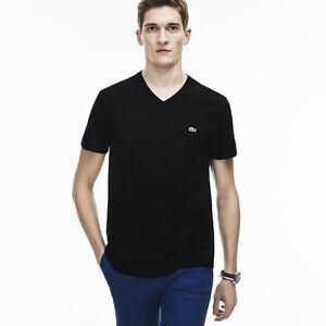 Lacoste V Neck Pima Cotton Jersey T Shirt   TH6710 51 031 Black