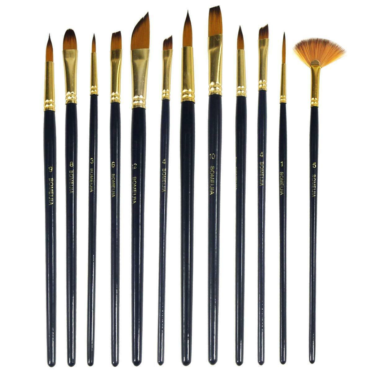 12Pcs Professional Artist Soft Paint Brush Set Oil Acrylic Watercolour Art 1