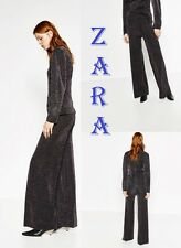 ZARA Shiny Palazzo Trousers New (RT$99.90) Wide Leg Double Faced Pants Size M