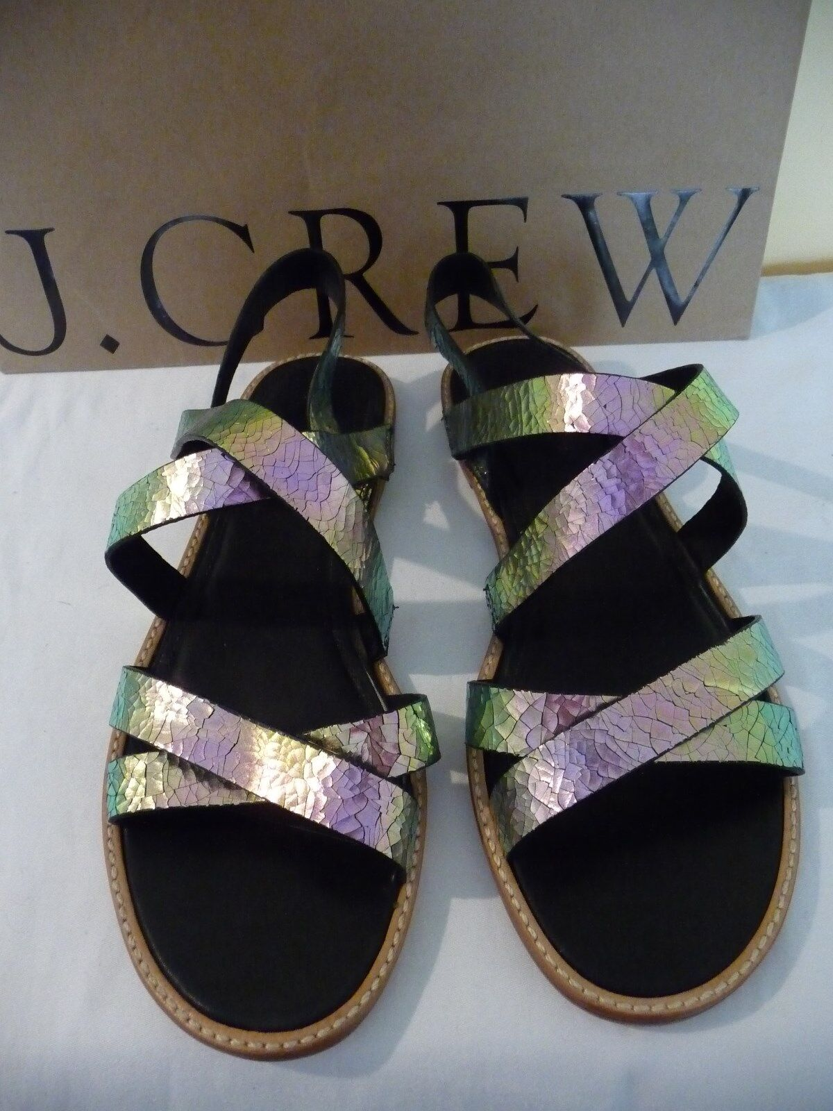 NEW J.CREW MACKENZIE CRACLED FOIL SANDALS, C7271, SIZE 7, gold,  138