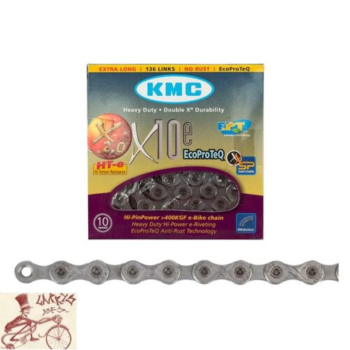 """KMC X10e EPT 10 SPEED 1//2/"""" X 11//128/""""---136 LINKS SILVER MTB-ROAD BICYCLE CHAIN"""