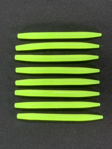 "15pc Lot 5"" Inch Chartreuse Senko Style Soft Plastic Bass Fishing Stick Bait"