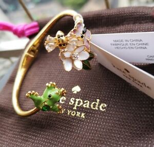 9a590c0976158 Details about KATE SPADE New York Gold Frog & Flower Hinged Cuff Bracelet
