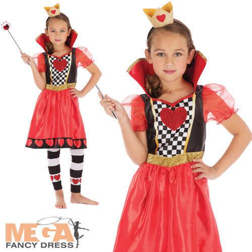 Queen of Hearts Girls Fancy Dress Wonderland Kids World Book Day Costume Outfit