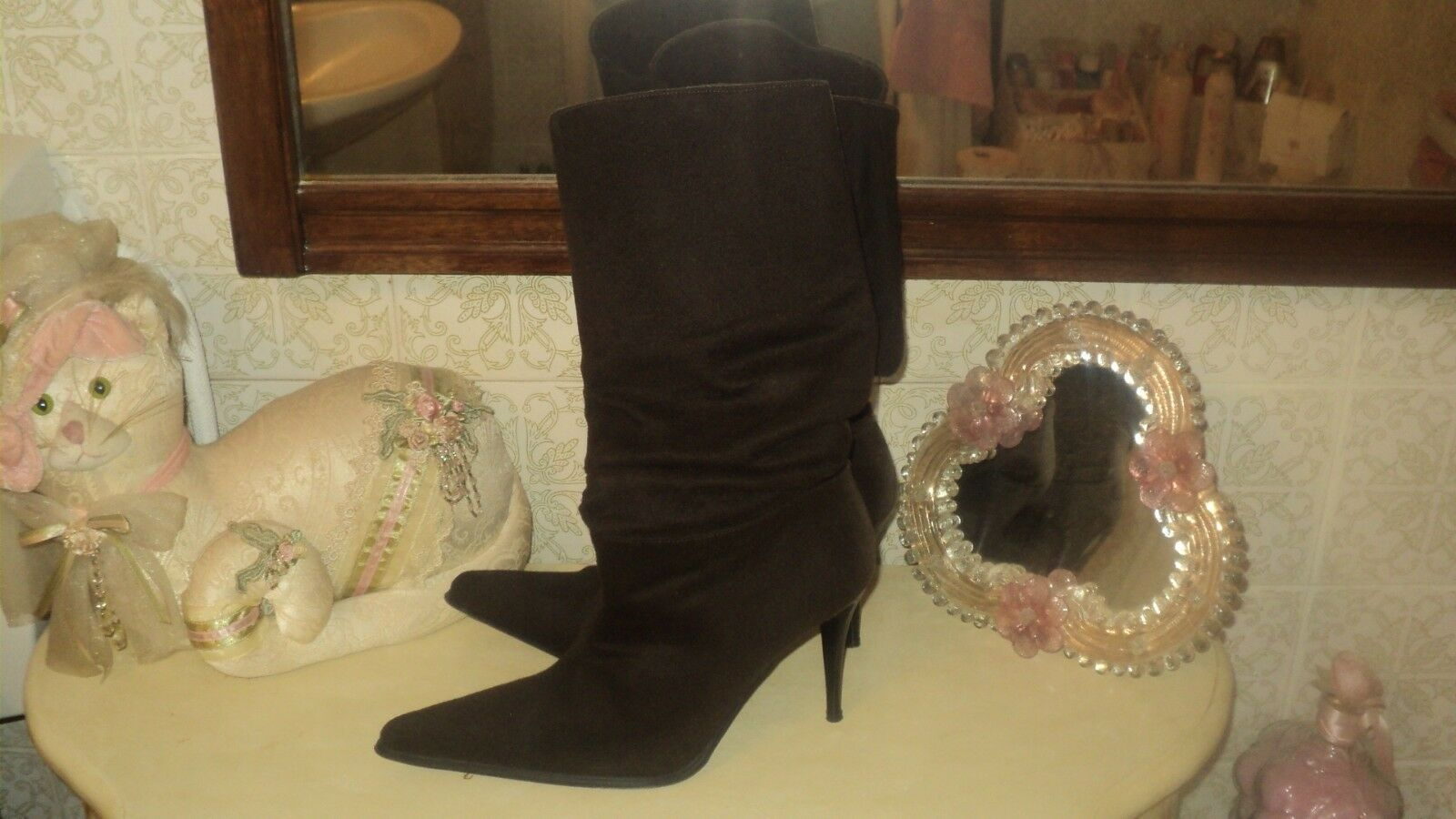 ITALIAN JL BROWN SUEDE POINTED BOOTS PLEATED BOOTS POINTED STILETTO HEELS EU38*UK5*US7,5 207841