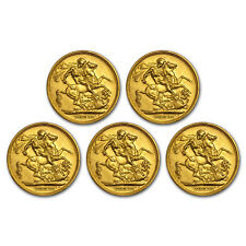 Great Britain Gold Sovereign Avg Circ (Random) Lot of 5  - SKU#171402