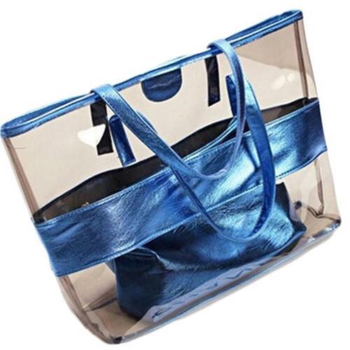 Women Large Capacity PVC Clear Transparent Shoulder Bag Tote Candy Beach Handbag