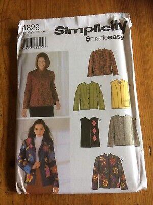 Comprar Barato Simplicidad 6 Chaquetas Simplificada Patrón De Costura De Papel Nuevo Y Sin Cortar 4826 Talla Xs-s-m